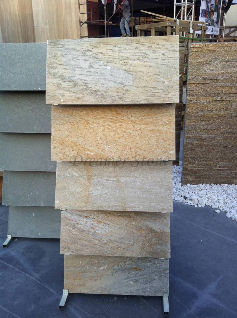 Yellow slate slab tile for flooring