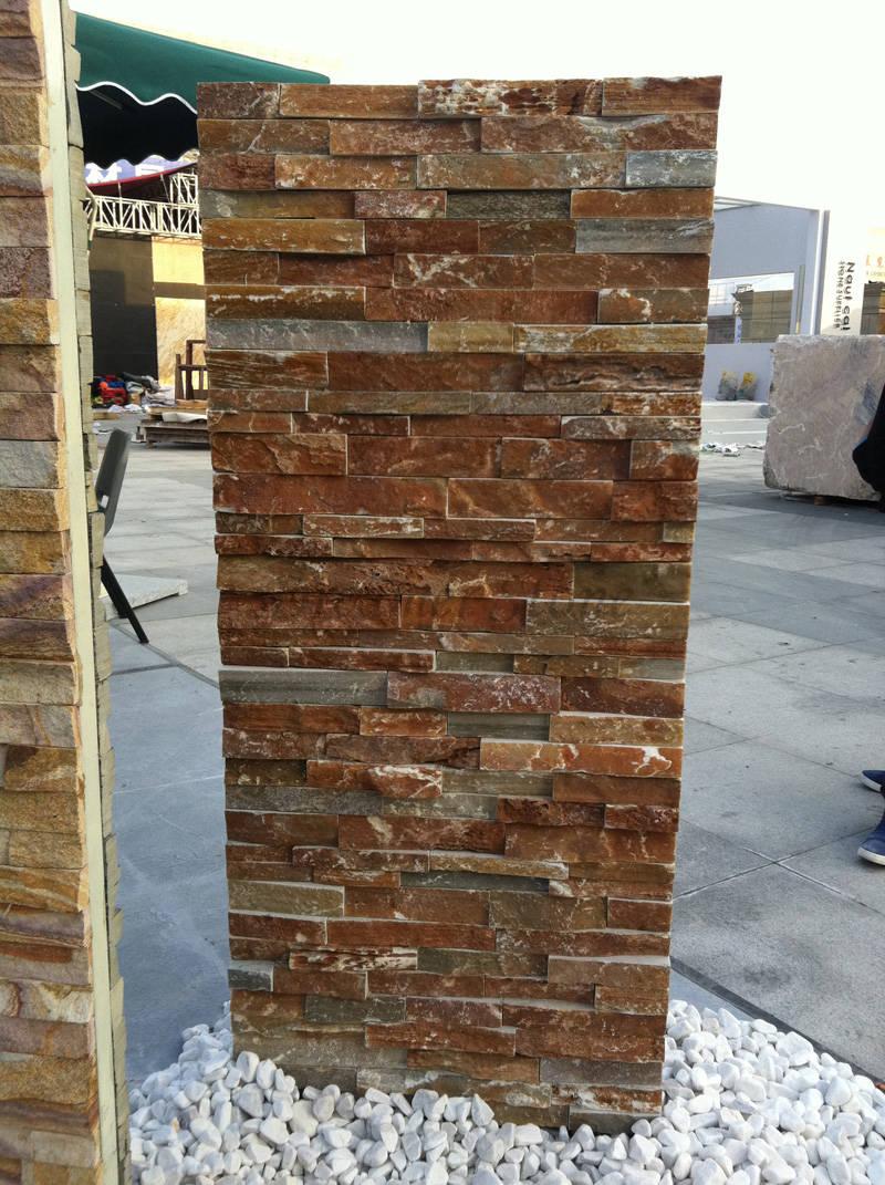 Natural slate stacked stone veneer wall panels