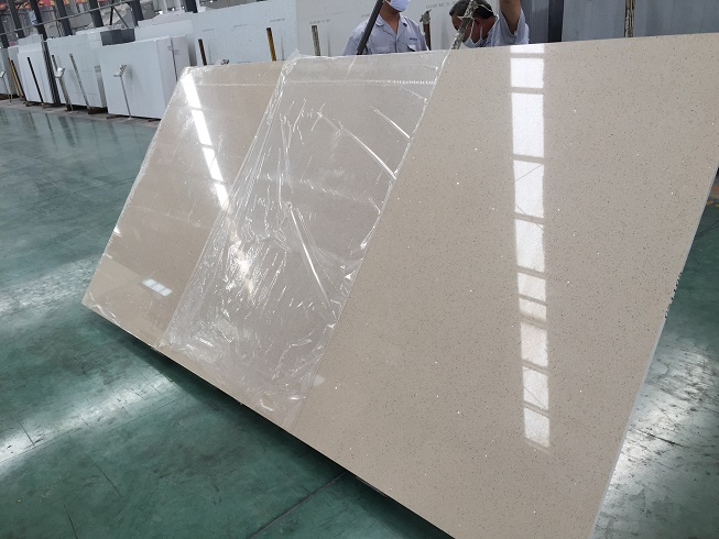 Beige color quartz slabs for countertops