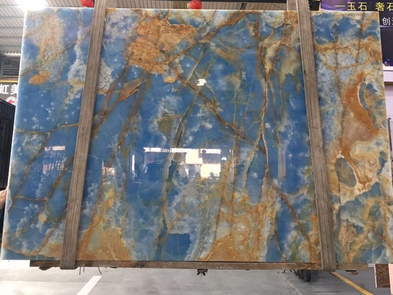 Natural Polished Book Match Blue Onyx Slabs and Tiles