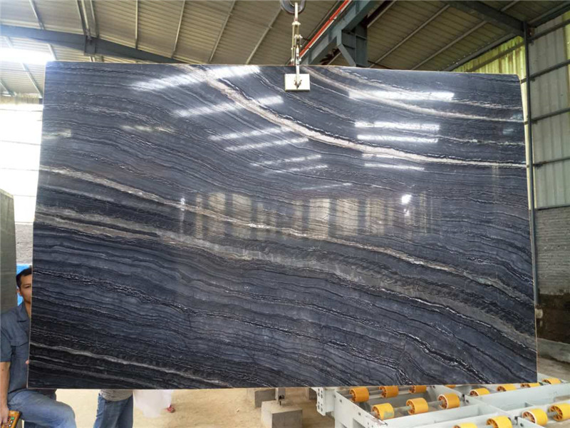 Silver Wave Wooden Grey Wooden Black Marble SlabsWood Grain Grey Marble Tiles