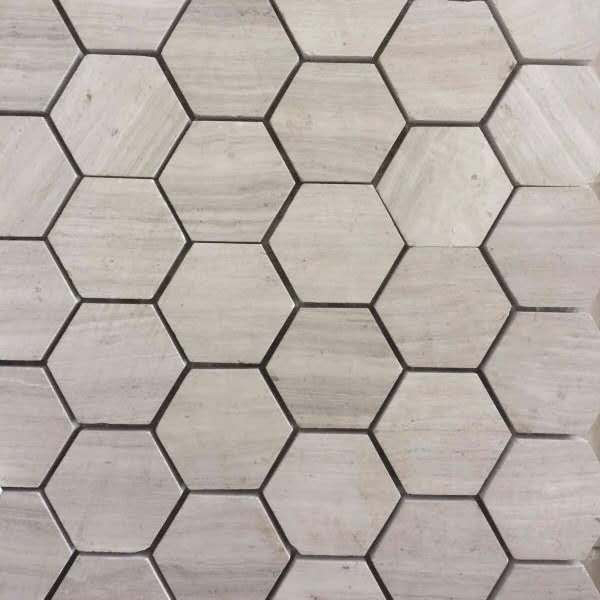 Hexagon shape mosaic of Wooden White Marble