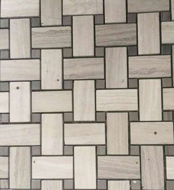 Rectangle Mosaic of Wooden White Marble  Haisa