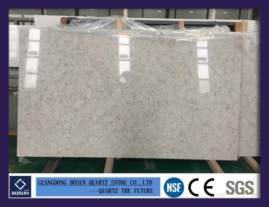 Artificial Quartz Stone BS3301 Solid Surfaces Polished Slabs Tiles Engineered Stone for Hotel Kitchen Bath