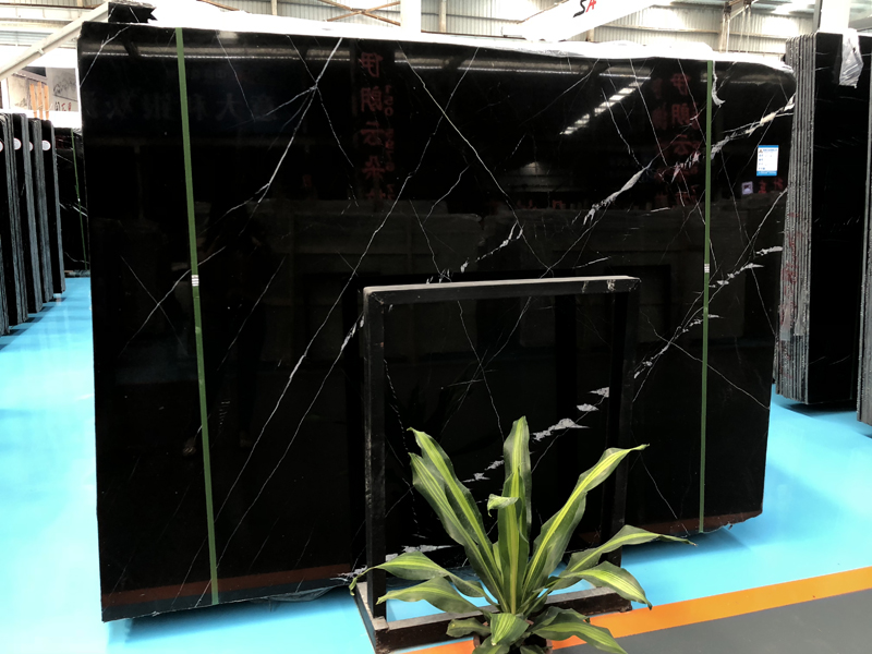 China Nero Marquina Marble Slab