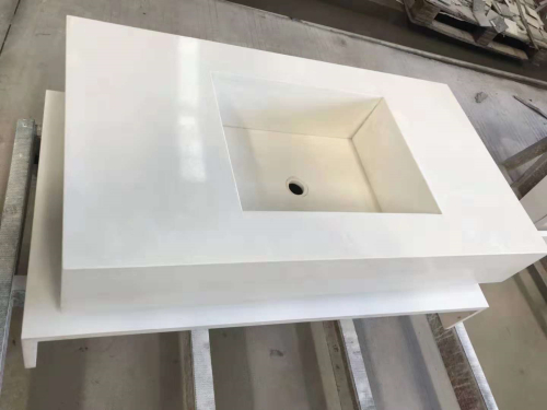 White Polished Quartz Bathroom Vanity Tops