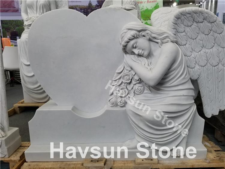 angel heart white marble headstone monument