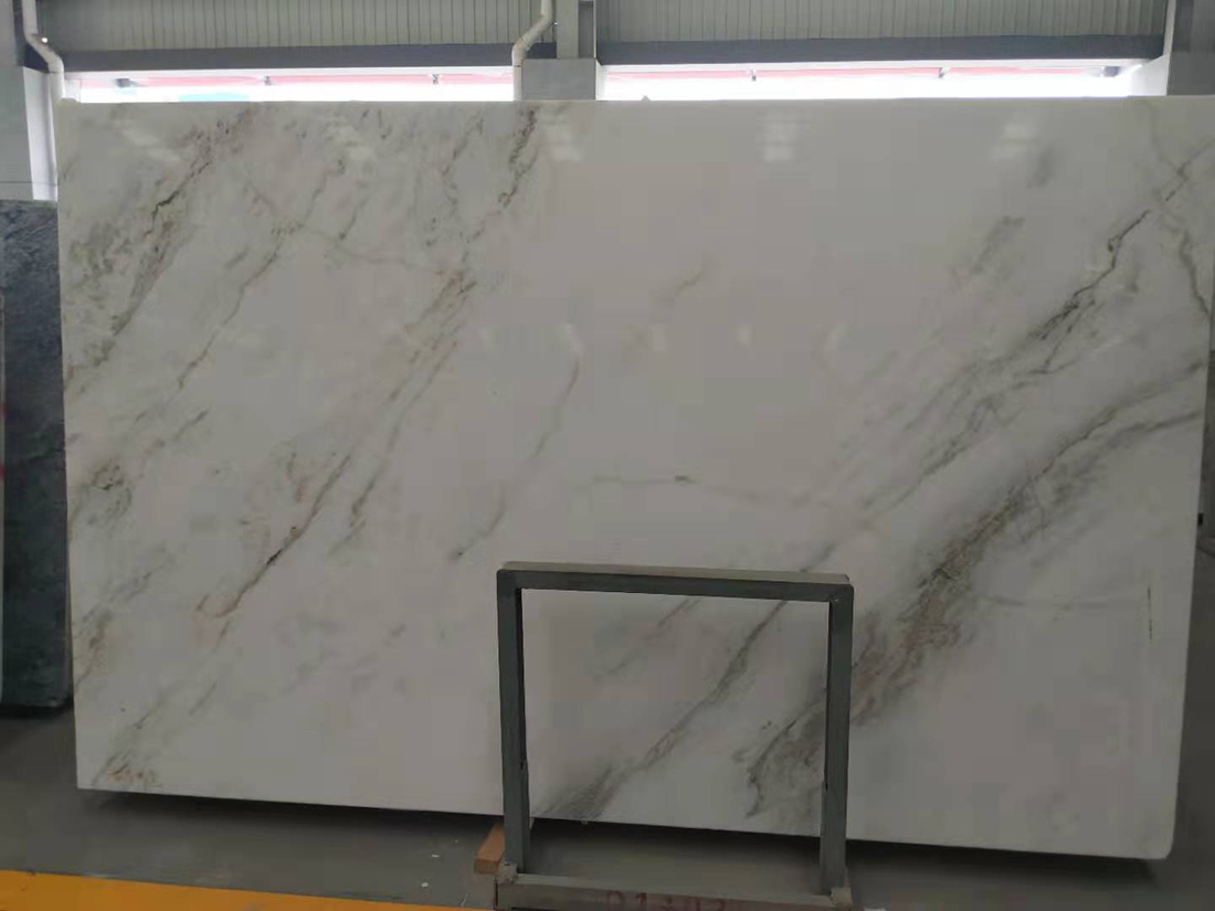North Pearl White Marble Brown Yellow Veins