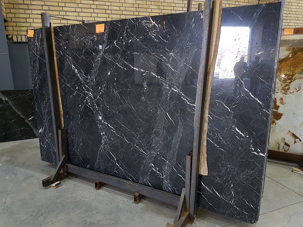 Iranian Polished Black Marble Slabs