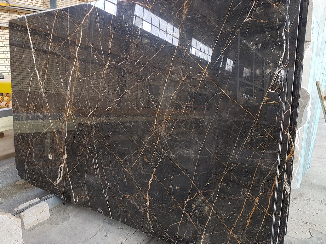 Golden Black Marble Polished Slabs