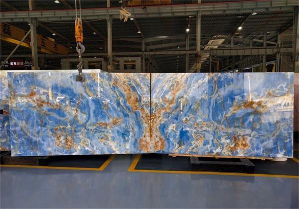 Extravagant Blue Onyx Marble Backlight Slabs Tiles