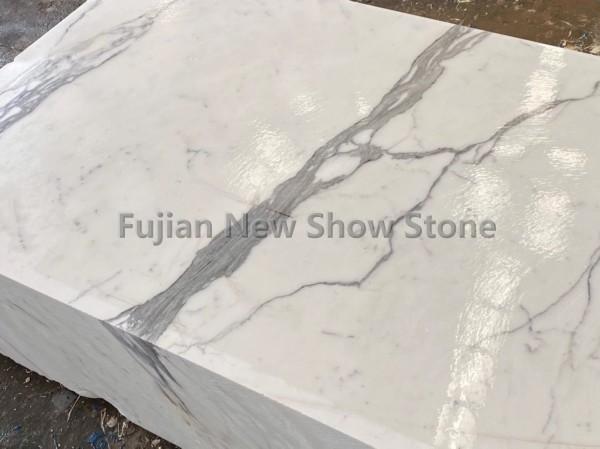 Calacatta white marble block