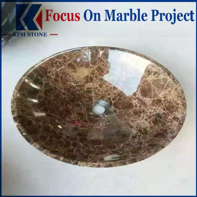Dark Emperador Marble Round Wash Bowls Vessel Basin Sinks