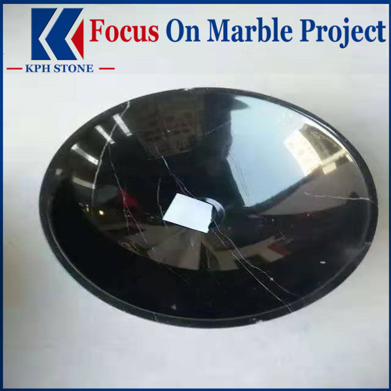Nero Marquina Marble Round Vessel Basin Sinks