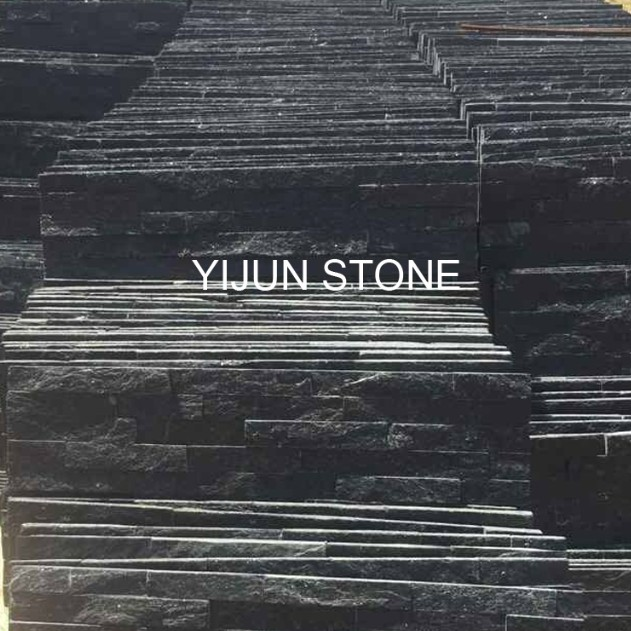 Black Quartzite Strips Wall Panel Factory Supply Hebei Split Surface Cultured Stone Wal Cladding