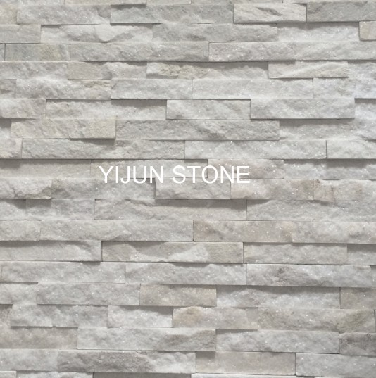 Sparkle Natural Stone Used to Interior Wall Decoration White Quartzite Wall Cladding Wall Panel Made in China