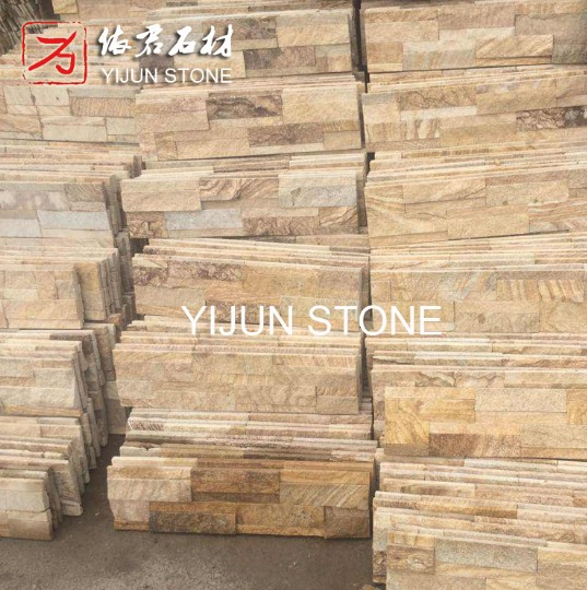 Sandstone Culture Stone for Wall Decoration with Best Price in China Yellow Wood Color Wall Cladding