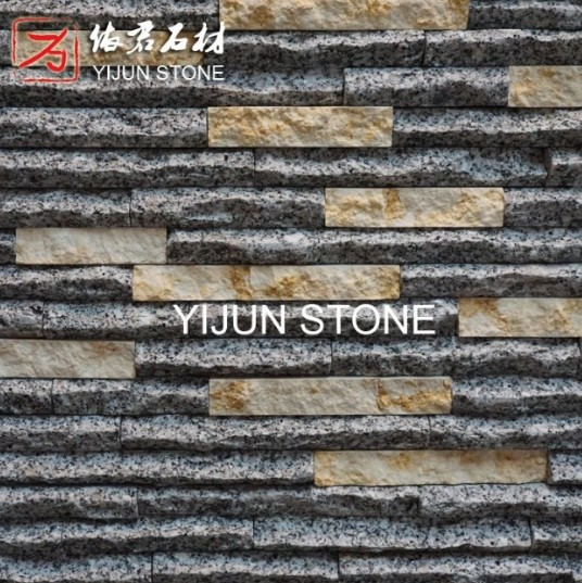China Interior or Exterior Granite Black Stone Wall Cladding Cultured Stone Exposed Wall Stone