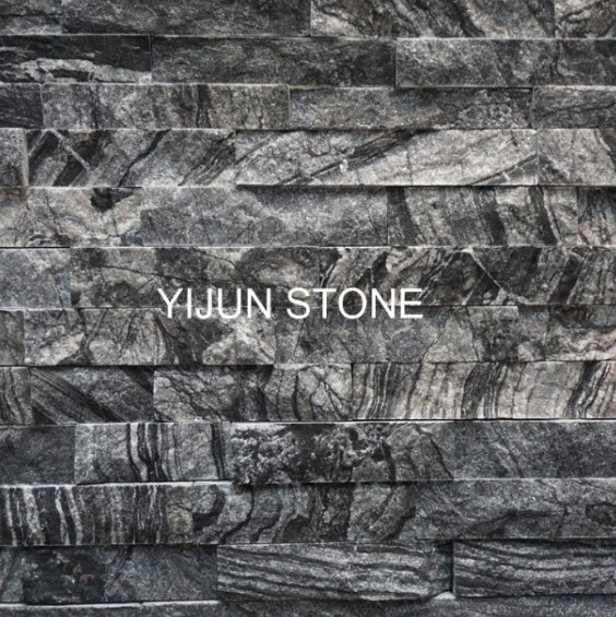 China Black Wood Grain Marble Culture Stone Ancient Wooden Vein Stacked Stone Ledge Stone for Wall Cladding