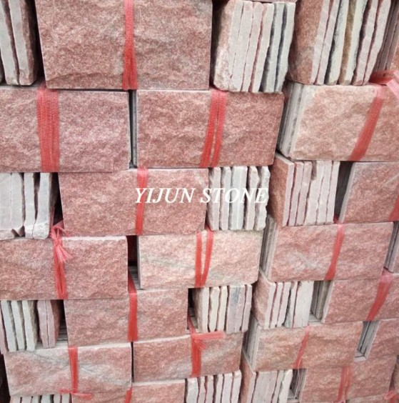 Natural Pink Quartzite Mushroom Stone Wall Stone Tile Split Surface Hebei Stone Factory China