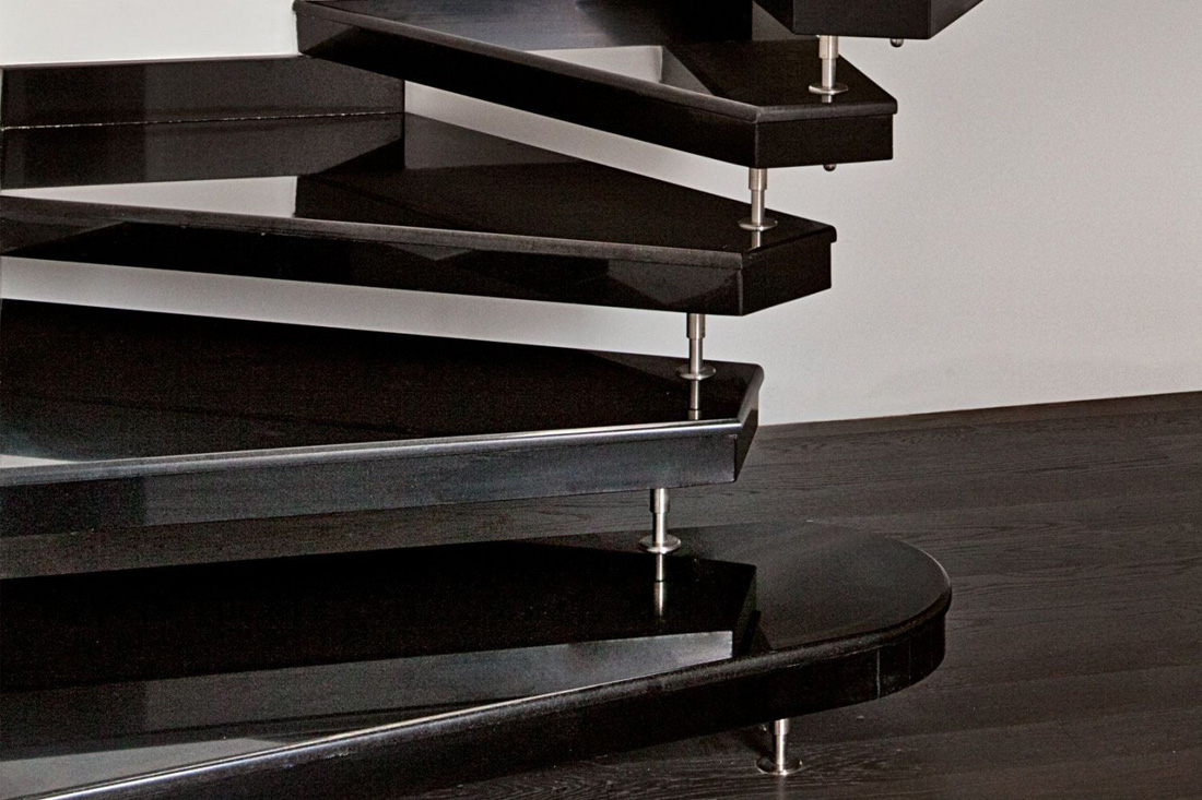 Absolute black granite stairs