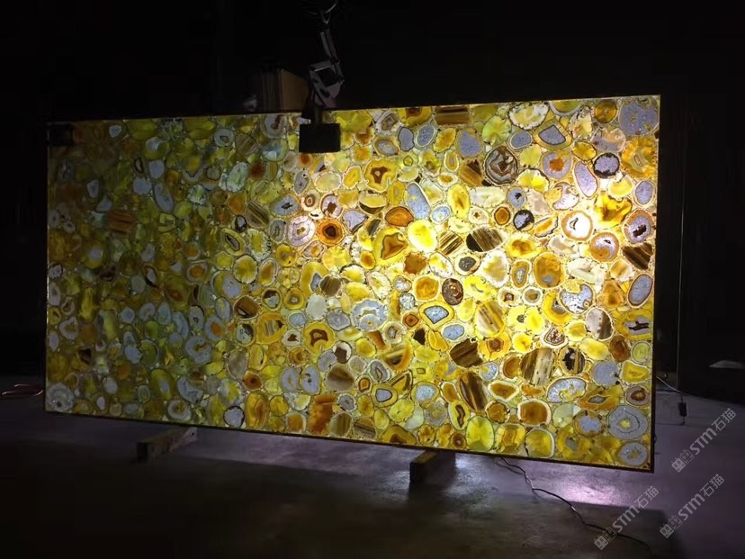Nature Yellow Agate Gemstone Backlit Slabs