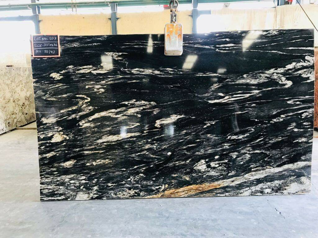 Alaska Black Granite Polished Black Granite Slabs