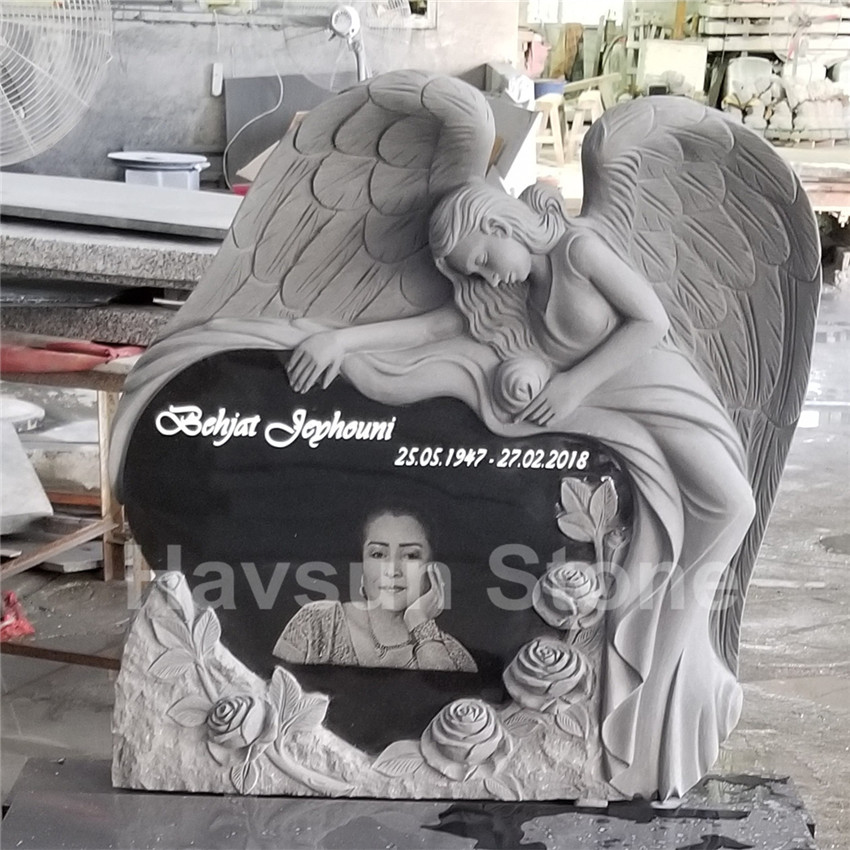 Granite Portrait  Angel Heart Headstone Tombstone