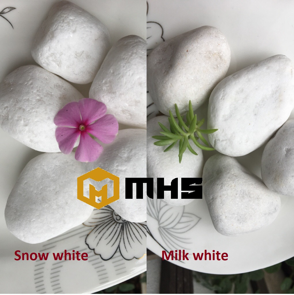 Snow   Milk  White Tumbled Pebble Stone