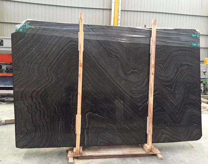 China Black Wooden Marble Slab