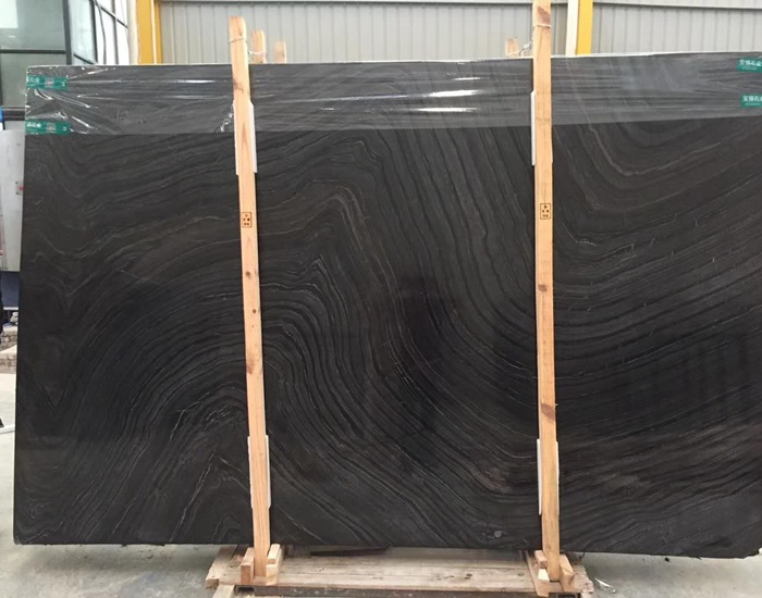 Polished Black Wood Grain Marble for Walling