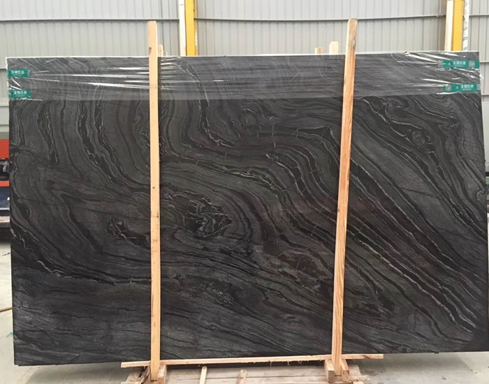 China Wooden Vein Black Marble Slabs for Walling