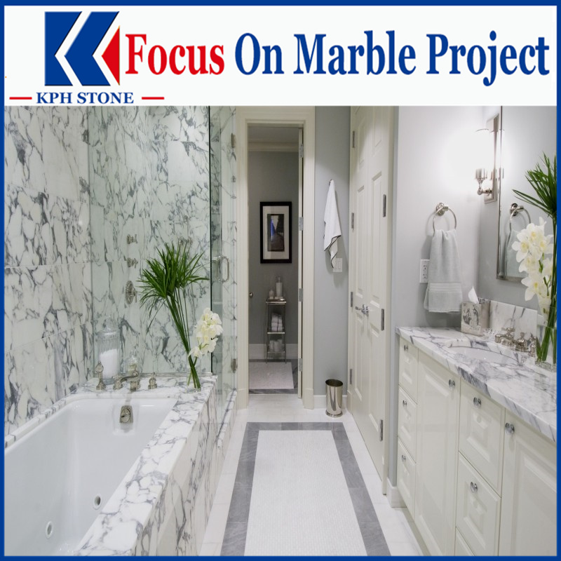 Arabescato Bianco marble top bathroom vanity