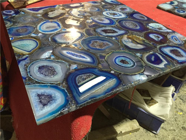Blue Agate Slab For Tabletop