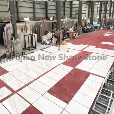 White golden marble tile