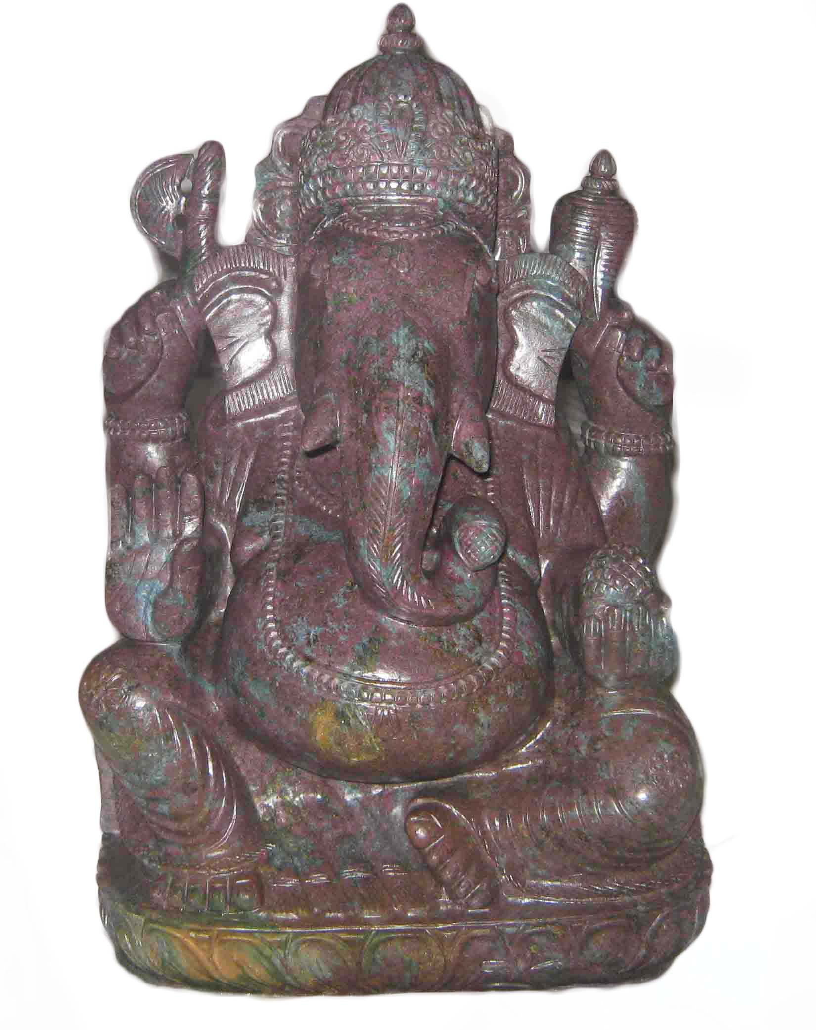Corundum Ruby Ganesh wtih good carving