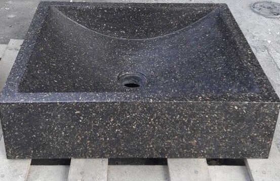 Bali Black Resin Terazzo Oval Sink Pedestal Basin