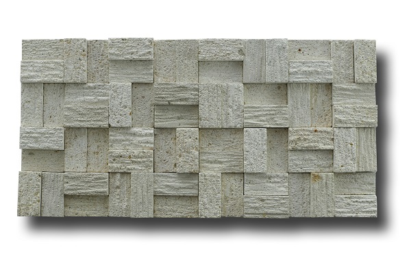 White Classic Limestone Linear Strips Mosaic Wall Cladding Stone Facades