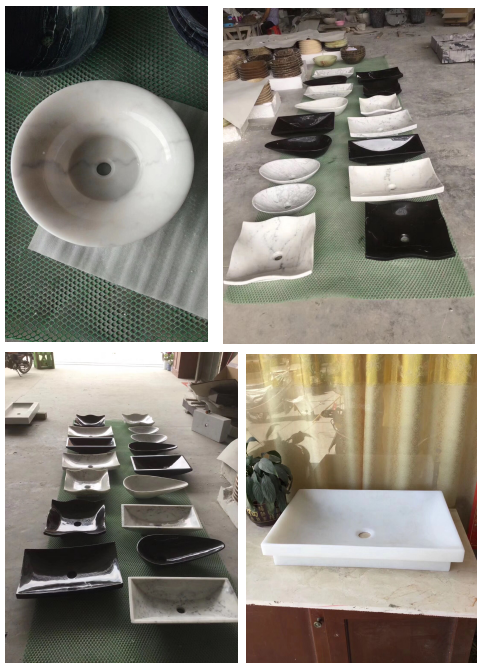 Polished White Marble Vessel Sinks and Basins for Vanity Top and Bathroom Decoration