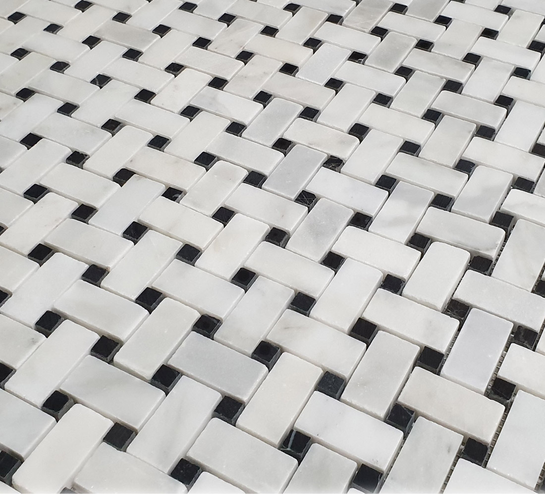 Basketweave Mosaic White & Black Marble