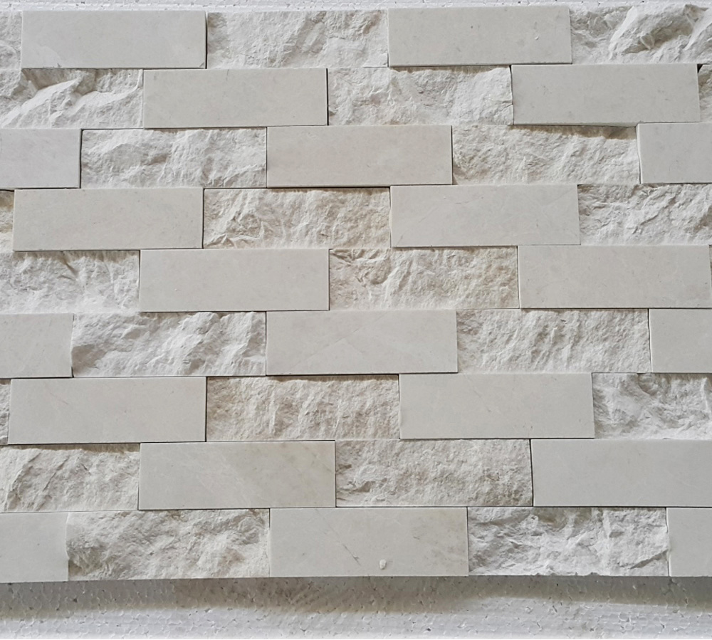 Beige Marble Split Face Polished Wall Cladding