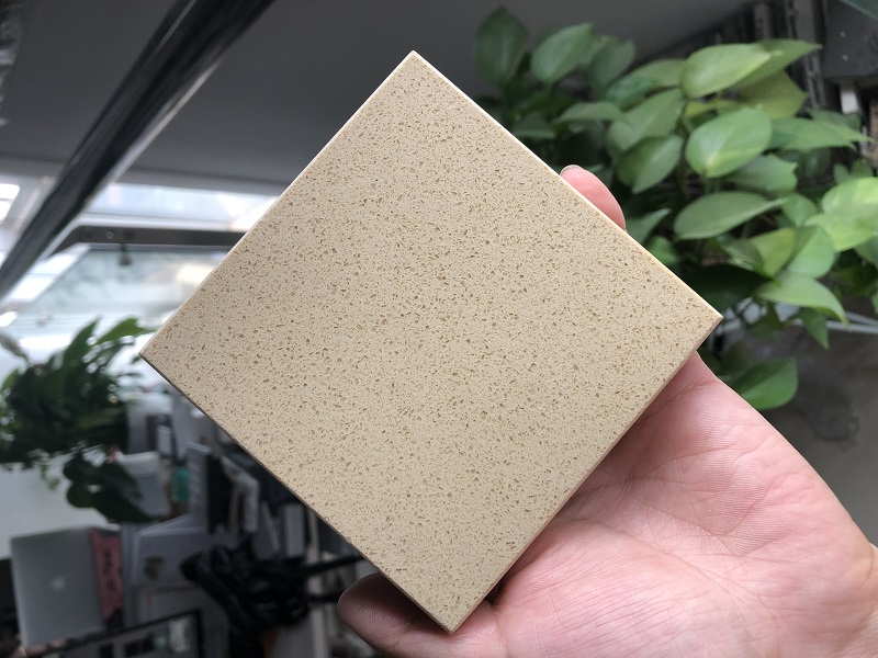 engineered beige quartz stone slab