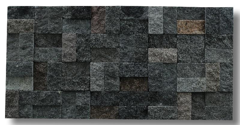 Bali Black Lavastone Strip Wall Cladding