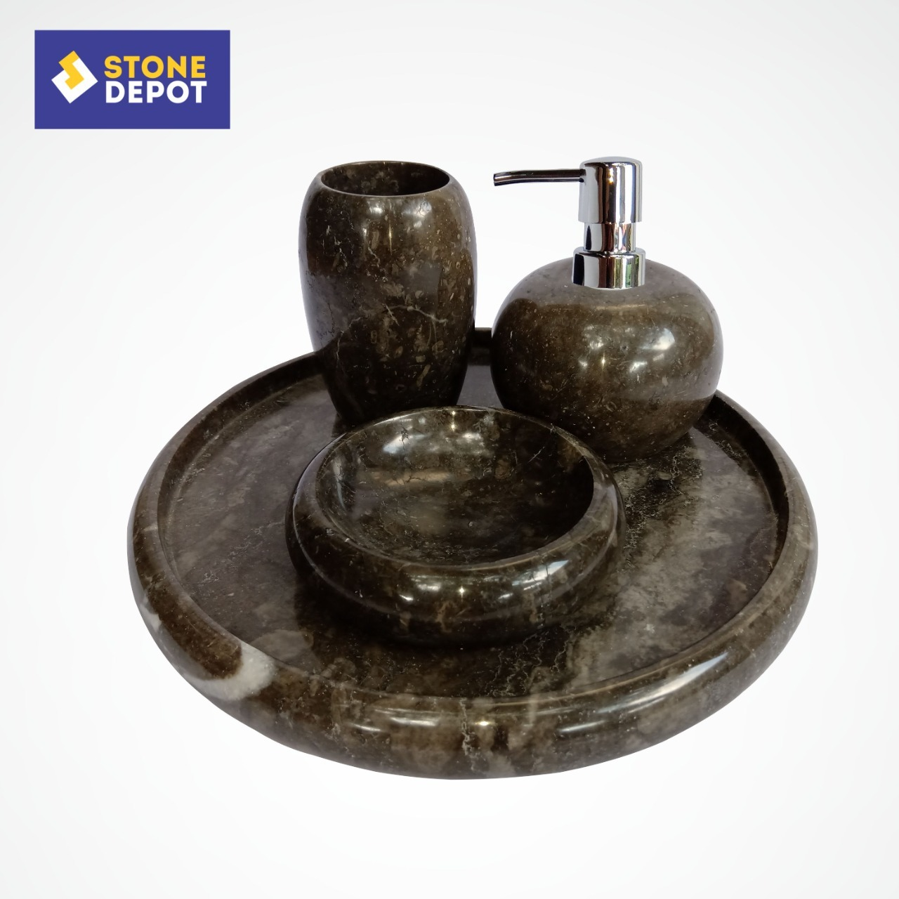 Bali Black Marble Bathroom Set Stone Soap Dish