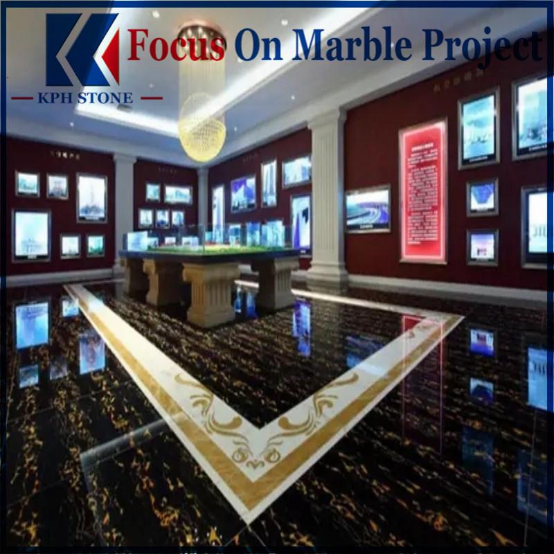 Black Portoro Gold Marble Floor Tiles