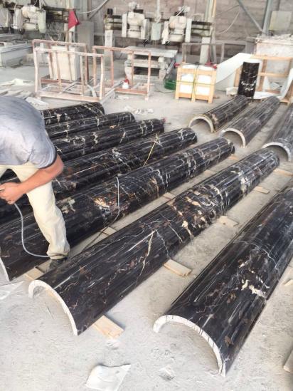 black portopo marble column