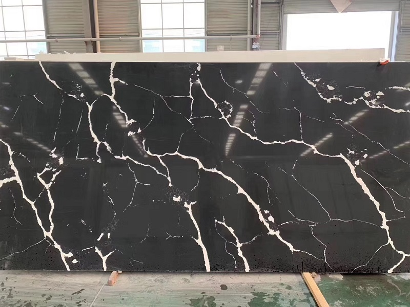 black calacatta quartz slab