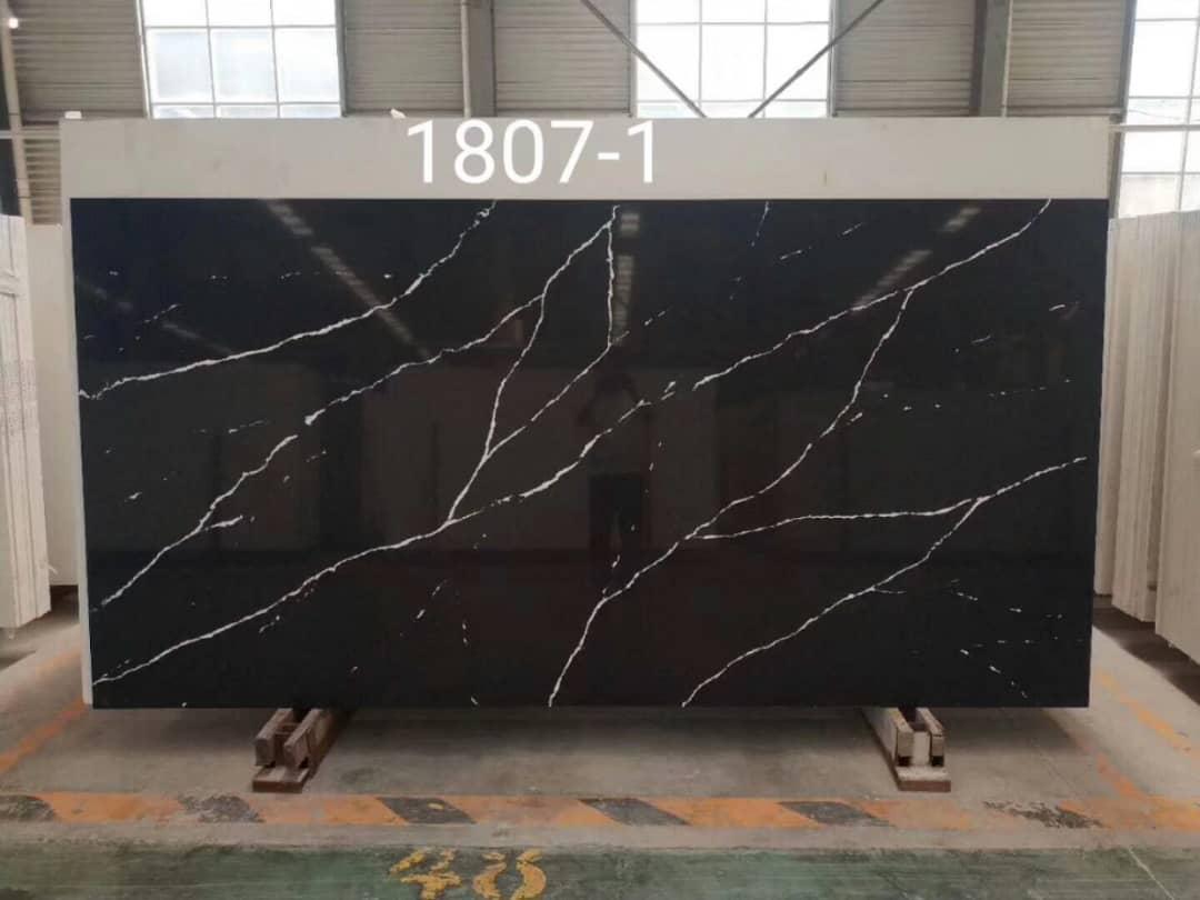 black marble quartz stone slab