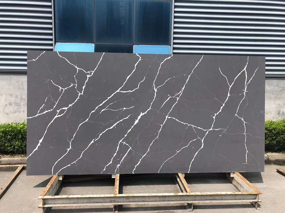 black marble quartz stone slab