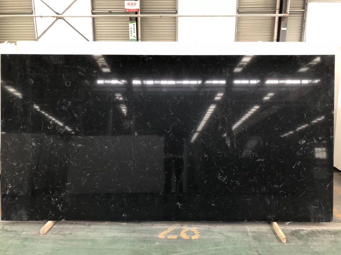 black marquina quartz stone slab
